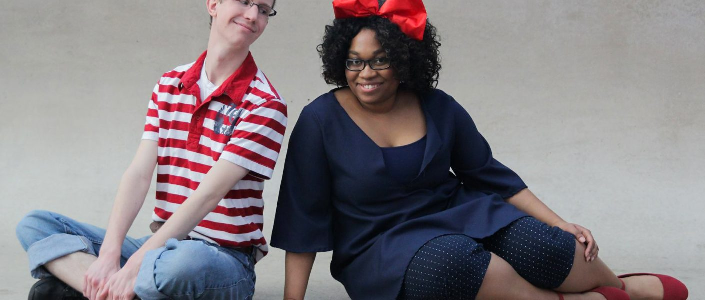 Kiki and Tombo from Kiki's Delivery Service cosplay by cosplayer KittieOnALeash and MangaMan