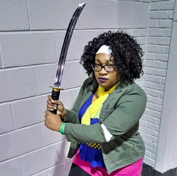 Michonne - The Walking Dead Comic cosplay by cosplayer KittieOnALeash meets Robert Kirkman at New York Comic Con